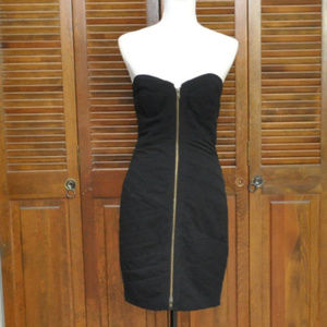 Tracy Reese Strapless Zip Front Black Dress Sz 6